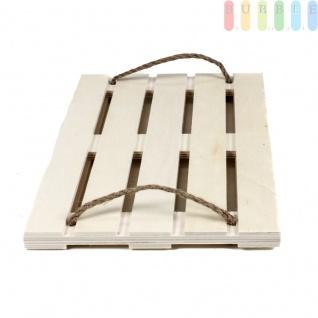 Serviertablett in Palettenform von Alpina, Schlaufengriffe aus Sisal, Tablett rechteckig aus Holz, Größeca.36x24cm