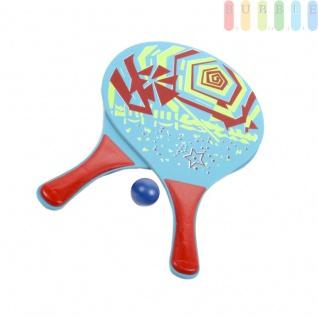 3-teiliges Beachball-Set, Strandspielzeug für Kinder und Erwachsene, 2 stabile Holzschläger und 1 Kunststoffball, Tragenetz mit Aufhängeöse, Design1