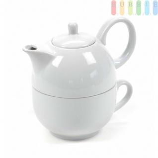 Tee-/Kaffee-Set von Trento Collection, Tasse mit Kanne, Porzellan, 425ml, 2-teilig, weiß