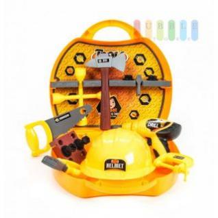 Kinder-Werkzeugkoffer von EDDY TOYs mit 21 Teilen, Akkuschrauber mit Pistolen-Antrieb, Maße ca. 30 x 28 x 8 cm