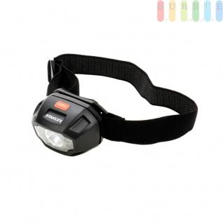 Stirnlampe, Kopflampe von Stanley, 5LEDS, Neigung verstellbar in 4 Positionen, elastisches Kopfband, größenverstellbar, 3Lichtfarben, 5Funktionen inklusive SOS-Blinklicht