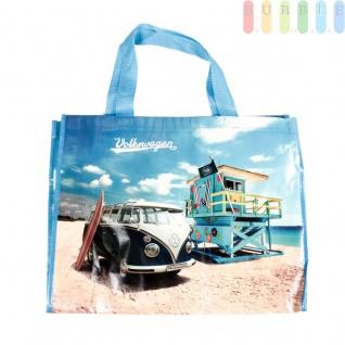 VW T1 Bus Shopper-Tasche mit Schultergurt, Motiv Beach Life, VW-Kollektion, Retro-Design, Tragkraft max. 30 kg, Größe ca. 48 x 38 cm