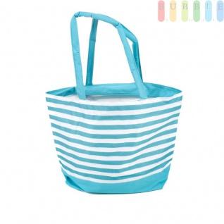 Strandtasche mit Reißverschluss und 2 Tragegriffen, wasserdicht, abwaschbar, platzsparende Aufbewahrung, Größe ca. 48 x 16 x 35 cm, Farbe Hellblau
