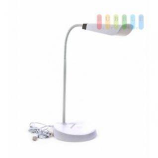 LED-Schreibtischlampe Grundig, USB- oder Batteriebetrieb, länglicher Schirm, flexibler Hals, 4, 5 W, weiß