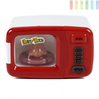 Kinder Mikrowelle, Spielzeug für die Kinderküche mit Licht und Ton von EDDY TOYs, drehende Platte mit Kunststoff-Hendl, An/Aus-Schalter, Türöffner, Batteriebetrieb