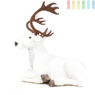 Liegendes Rentier mit weißem glitzerndem Kunstfell und Geweih, Weihnachtsdekoration, Länge Körper ca. 85 cm