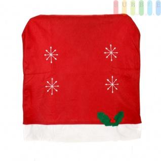 1x Weihnachtssitzbezug, weihnachtliche Stuhlhusse aus Filz in Form einer Weihnachtsmütze mit Bommel, Sternen, Stechpalmenblätter mit roten Beeren - Vorschau 2