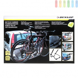Heckklappen-Fahrradträger von Dunlop, alle Fahrzeugtypen, flexibel, platzsparend, Nutzlastmax.30 kgfür2 Fahrräder, Zubehörinklusive, FarbeSchwarz