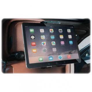 KFZ-Ladegerät/-Halter von ALL Ride für die Rückbank, Kopfstützen-Befestigung flexibel, 1 Steckdose, 2 USB-Buchsen, Handy, Tablett oder Navigationsgerät, Montage werkzeuglos