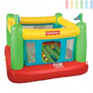 Hüpfburg für Kinder von Fisher Price, aufblasbar mit integrierter elektrischer Luftpumpe, hochwandig, Einstieg vorne, inklusiv 50 Bälle für Bällebad, Indoor