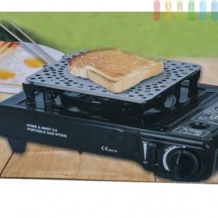 Toast-Platte mit Griff für Gaskocher, klappbar, einfaches Reinigen durch Anti-Haft-Beschichtung, Metall, Größeca.20x20x1cm, Griff Länge ca. 13 cm - Vorschau 2