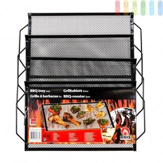 Grilltabletts 4er-Set von BBQ Collection, Griffe, Rollkante, feinmaschig, vielseitig, schwarz