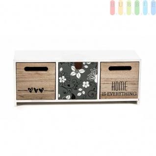 Mini-Kommode Arti Casa aus MDF, 3Schubladen, Shabby-Look, Design Flowers, freistehend, weiß, Größeca.33 x12, 5x10cm