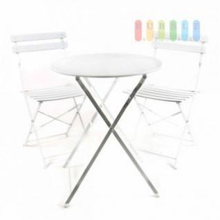 Bistro-Garnitur von Lifetime Garden 3-teilig, Metall, Retro-Design, innen und außen, klappbar, weiß