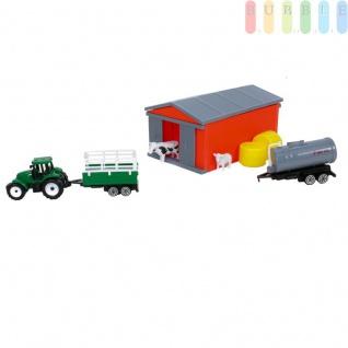Kinderspielzeug Traktor, Trecker in grün mit Anhänger + Güllewagen, Stall mit 4 Schiebetüren, Kuh, Schaf, 2 Strohballen