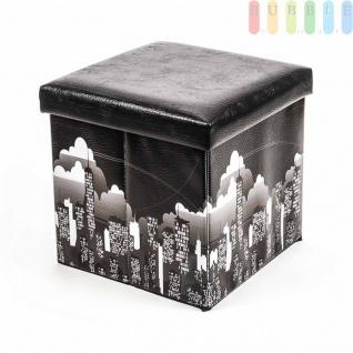 Polsterhocker, Kunstleder, faltbar, mit Stauraum im Würfel, Maße38x38cm, Black-Skyline-Design