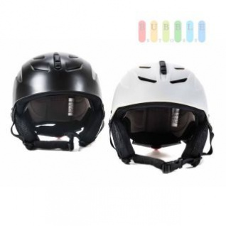 Kinder Ski- und Snowboard-Helm mit Ohrenschützern, Brillenhalter, Größe und Belüftung einstellbar, entspricht DIN EN 1077, lieferbar in den Farben Schwarz oder Weiß