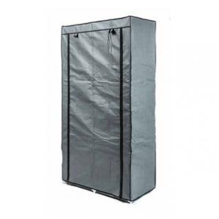 Faltkleiderschrank, 1 Kleiderstange, 6 Ablagen, werkzeuglose Montage, Größe 170 x 87 x 45 cm, Farbe Grau-Schwarz