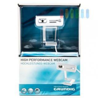 Webcam Grundig flexibel freistehend oder fix am Bildschirm, mit 5 Megapixel, USB-Anschluss, weiß