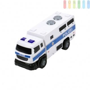 Spielzeug-Polizeiwagen, Polizeitransporter mit Friktionsantrieb für Kinder von Gear Box, Licht und verschiedene Ton-Funktionen, Sirene, Blaulicht