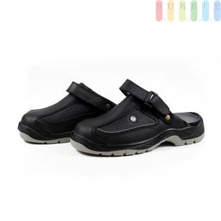 Clogs Sicherheits-Sandale von ALL Ride, Sicherheitsschuh mit Klettverschluss, schwarz/grau, Größe 46