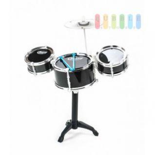 Schlagzeug / Drum-Set für Kinder von EDDY TOYs, 3 Trommeln, 1 Becken, 2 Sticks, Steckmontage, Größe ca. 47 x 40 x 24 cm