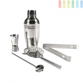 Cocktail Mixer Bar-Set, 5 Teile mit Shaker, Eis-Zange, Löffel, Messbecher und Sieb, Edel-Stahl, ca. 350 ml Füllvolumen