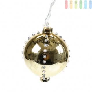 Weihnachtskugel mit 44 LEDs von Christmas Gifts, 6 Licht-Modi, Kunststoff, Christbaumkugel, Adventsdekoration, mit Aufhänger, Ø ca. 8 cm, Netzkabel ca. 155 cm, 230V/50Hz, Farbe Gold