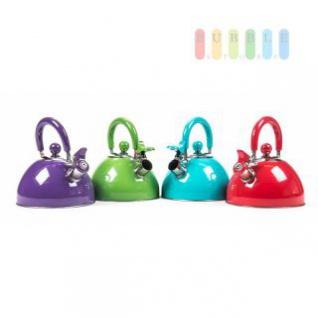 Wasserkessel mit Flöte aus Edelstahl, für Elektro-, Gas-, Glaskeramik-Platten, Volumen 2, 5 L, lieferbar in den Farben Violett, Grün, Türkis oder Rot