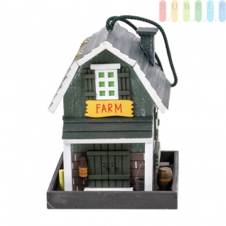 Vogelfutterhaus von Lifetime Garden aus Holz, Futtersilo mit aufklappbarem Dach zum Befüllen, 4 Anflugseiten, Aufhänger, für Garten, Terrasse oder Balkon, Höheca.24cm, Farm-Version