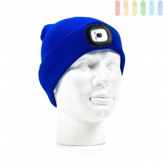 Strickmütze mit LED-Lampe, 4LEDs, 3Helligkeitsstufen, Licht abnehmbar, Mütze waschbar, Farbe Blau