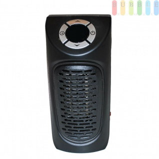 Elektrischer Heizlüfter für die Steckdose mit digitalem Display, klein, leise, kabellos, elektronische Regelung der Raumtemperatur von 15 - 32°, 12 Std.-Timer