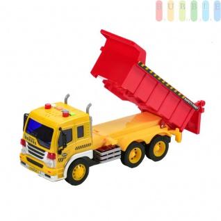 Spielzeug LKW Kipper mit Friktionsantrieb für Kinder von Gear Box, Auflader kippbar mit Ladeklappe, Licht und Ton-Funktionen, Batteriebetrieb, Maßstab 1:16