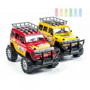Spielzeug-Geländewagen von EDDY TOYs mit Friktionsantrieb, Länge ca. 30 cm, lieferbar in den Farben Rot oder Gelb