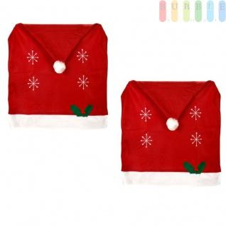 2x Weihnachtssitzbezug, weihnachtliche Stuhlhusse aus Filz in Form einer Weihnachtsmütze mit Bommel, Sternen, Stechpalmenblätter mit roten Beeren