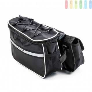 Fahrradrahmen Lenkertasche von Dunlop zum Umhängen mit Flaschenhalter, 3 Taschen, Klett-Montage, flexibel, sicher, mobil Größeca.23x13x16cm
