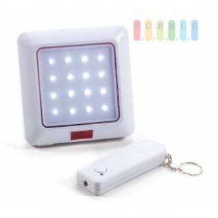 LED-Lampe von Safe Alarm mit Fernbedienung, 16 LEDs, Batteriebetrieb, Reichweite 10 Meter, 2-teilig, weiß