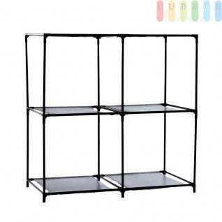 Organizer-System für Aufbewahrungsboxen, 4 Fächer, Metall, Vliesmaterial + Kunststoff, Montage ohne Werkzeug, Größepro Fach ca.35 x 35 x 35 cm, schwarz