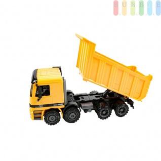 Spielzeug-Kipplaster für Kinder von Gear Box, mit Friktionsantrieb, LKW-Fahrerhaus und Auflieger kippbar, Aufliegerklappe zu öffnen, Maßstab 1:12