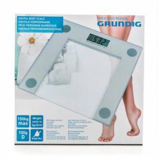 Körperwaage von Grundig, Digitalanzeige, Glas-Standfläche, Design klar, hygienisch, Bedienung einfach, Größe ca. 30 x 30 x 2 cm