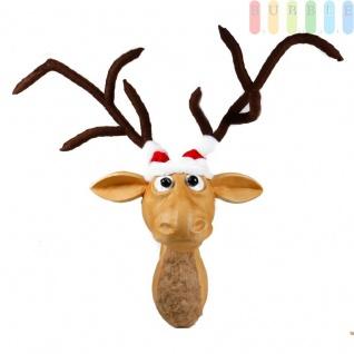 Weihnachtsfigur Rentierkopf zum an die Wand hängen, mit Weihnachtsmütze, Brustfell und flexiblem Geweih, Höhe Kopf ca. 58 cm, Geweih ca. 76 cm