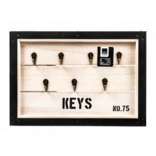 Schlüsselbrett von Arti Casa aus Holz, Metallrahmen rustikal, 7 Haken, 2 Aufhänger, Übersee-Kisten-Design, Größe 34 x 24 x 4 cm
