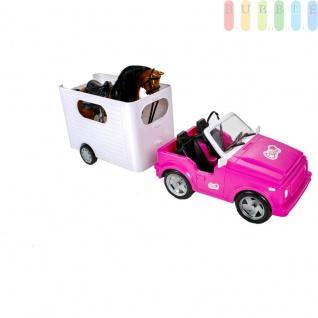 Pferdeanhänger-Set mit 5 Teilen, Auto (Cabrio) mit Anhängerkupplung, Pferdetransporter, Pferd mit Sattel, Trense, Mähne und Schweif, Bürste und Striegel