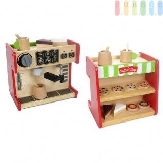Holzspielzeug 2 in 1 Kaufladen und Kaffeemaschine, Kaffeevollautomat mit Drehschalter, Torten, Kuchen, Becher und Kanne mit Rührstab