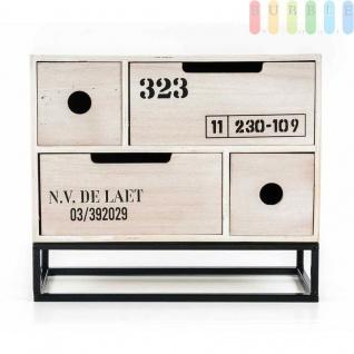 Mini-Kommode von Arti Casa aus MDF, 4Schubladen, Industrie-Design, Metallgestell, freistehend, Höheca.26, 5cm, kleine Mini-Kommode