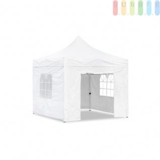 Gartenpavillon / Falt-Pavillon, 3 x 3 m, 4 Seitenwände mit Reißverschluss-Befestigung, wasserdicht, Farbe Weiß