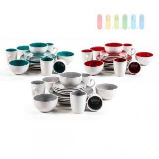 Frühstücksservice für 4 Personen, robuste Keramik, modernes Design, Becher, Müsli-Schalen, Teller, 16-teilig, lieferbar in weiß/rot, weiß/grau oder weiß/türkis