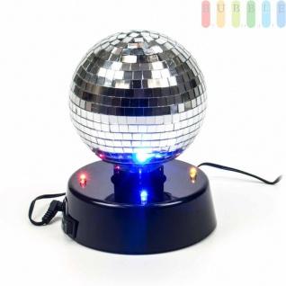 Disco-Spiegel-Kugel von PartyFunlights, rotierend, Ein-Aus-Schalter, Netzteil inklusive, 4bunteLEDs, ?10 cm