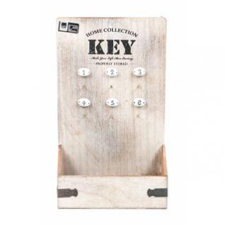 Schlüsselkasten von Arti Casa offen mit Fach, Vintage-Design, 6 Haken nummeriert, 2 Aufhänger, Größe 22 x 37, 5 x 8 cm