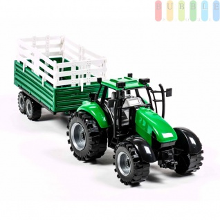 Traktorgespann von Gearbox mit Rückzugmotor, 2-teilig, Längeca.42cm, Traktor mit Dreiseitenkipper